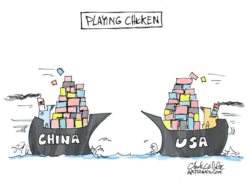 China and USA ships playing chicken.